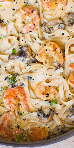 Creamy Shrimp Pasta with Mushrooms in alfredo sauce. #pasta #mushrooms