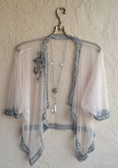 gypsy bohemian kimono with beads in violet