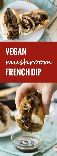 These vegan French dip sandwiches are made with sautéed portobellos, dressed in spicy horseradish mustard and served ready for dipping in savory vegan au jus.