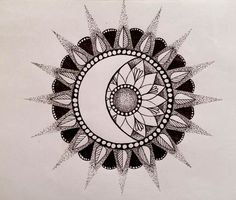 moon, sun and flower for tattoo