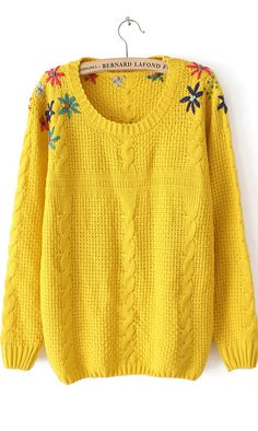 Flower embroidered round neck cotton sweater yellow #Ahaishopping