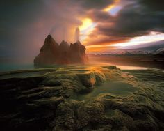Fly Geyser Fly Ranch, Black Rock Desert, Nevada, USA (via Nature's Best Image Gallery) Places To Travel, Places To See, Places Around The World, Around The Worlds, Dame Nature, Black Rock Desert, Destination Voyage, National Geographic Photos, Belle Photo