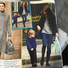 Duchess of Cambridge out shopping with Prince George. This picture is published in Womens Day magazine in January 2016.