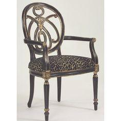 Hooker Furniture Decorator Jennifer Arm Chair with Leopard Black Fabric