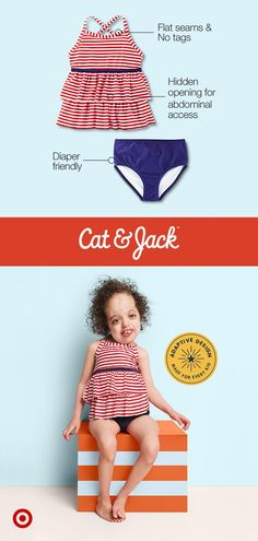f6518df1985 Keep your kiddo feeling cute and confident with Cat   Jack s adaptive  swimwear collection. Faith