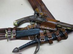 3IN Brown Leather Pirate Pistol and Sword by Dredmorsplunder, $225.00