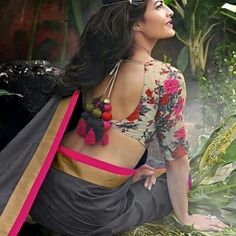 Floral blouse and a simple monotone #saree .. #jacklinefernandez stuns ! #floral