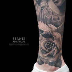 Dove & Rose tattoo by @fernie_andrade #fernieandrade #skindesigntattoos #bng…