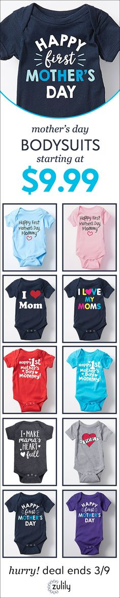 Sign up to shop Mini Mother's Day looks, starting at $9.99. If the hugs, kisses and macaroni art didn't tip you off, it's clear that baby loves their mom! Help your little one celebrate all that you do with these darling duds for Mother's Day. Deal ends 3/9.