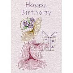 The Stitching Cards design features a girl in a bonnet, with the words Happy Birthday.