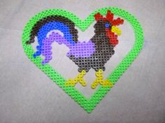 Rooster hama beads by Nath Hour Cross Stitch Cards, Beaded Animals, Coq, Perler Beads, Farm Animals, Beading Patterns, Pokemon, Monkey, Projects