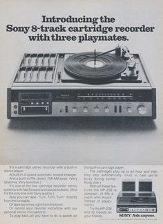 1973 Sony 8 Track Cartridge Recorder Ad 1970s Audio Technology Vintage Advertising Photo Print Wall