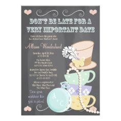 Mad Hatter Bridal Shower Invitations - Celebrate the new bride to be with these charming Don't Be Late for a Very Important Date mad hatter tea party bridal shower invitations with a chalkboard look design that can be customized. An eclectic stack of teacups, a pink hat with a feather and butterfly pin and a strand of pearls complete this whimsical and rustic vintage and antique shabby look in pale pink, yellow, mint green, white, light purple, brown, cream and gray hues.