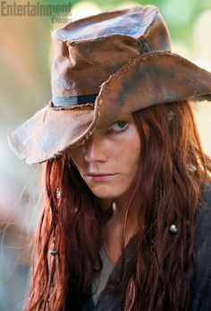 "Clara Paget playing the famous lady pirate Anne Bonny, in Starz ""Black Sails"". She takes women in hats to a brand new level!"