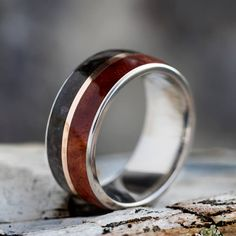Coolibah Wood Ring, Fossil Wedding Band With Rose Gold And Titanium-3689