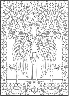 Crane Colouring page Dover Publications