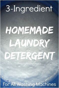Save $100's of dollars per year with this 3-Ingredient Homemade Laundry Detergent made with Borax, Washing Soda and Ivory Soap.  It gets clothes clean and soft without toxic chemicals or synthetics. This homemade soup works in he washers as well as top loaders.  Low sudsing and great for sensitive skin. - Happy Hooligans