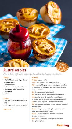 """""""Today, we're making a trip Down Under with these beefy Australian-style (perfect for boxes, by the way). Australian Meat Pie, Australian Recipes, Suet Recipe, Box Cake Recipes, South African Recipes, Salty Snacks, Lunch Boxes, Mediterranean Diet, Budget Meals"""