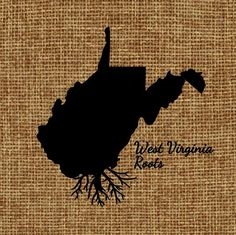 Burlap frame-able art West Virginia Roots on Etsy, $20.00