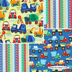 Michael Miller Fabrics Little Movers Fabric Pack in Paintbox - pre-cut fabrics for patchwork and quilting