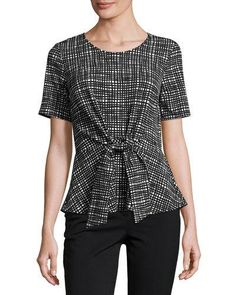 TQ9KW Casual Couture Short-Sleeve Crepe Tie-Front Top, Black Pattern