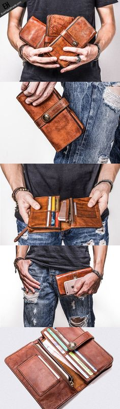 Handmade long wallet leather men phone clutch vintage wallet for