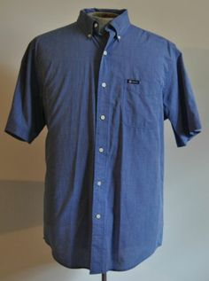 Men's Ralph Lauren Chaps Blue Dress Shirt 100% Cotton Size Large Short Sleeve