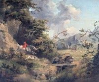 George Morland-Foxhunting in Hilly Country