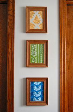 Framed fabric, idea for craft room