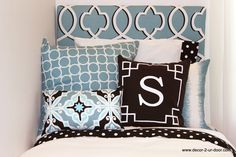 Spa Blue Design Ur Own Pillows and Black Polka Dot Banded Sheet Set. Designer headboard, custom pillows, exclusive bed scarf, window panels, wall art, bed skirts, twin/queen/king duvet and custom monogramming!! Perfect for college, apartment, or teen bedding!! Teen room makeover. Teen girl bedroom. Trendy teen bedding.