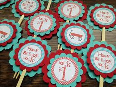 Little Red Wagon Collection Cupcake Toppers, Set of 12. Red, Turquoise. Radio Flyer Birthday. First Birthday. Wagons. Boy. Happy Birthday on Etsy, $10.00