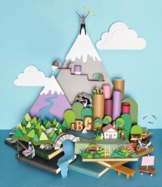 Paper landscape  low poly 3D abstract geometric isometric minimalist design