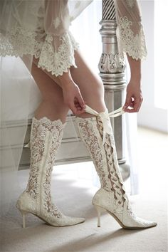 Chantilly Dreams Exclusive - Luxurious Vintage Victorian Edwardian Style Knee Length Lace Bridal Boot- Pointed Toe