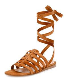 X31KD Gianvito Rossi Suede Ankle-Wrap Gladiator Sandal, Luggage