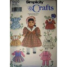 Customer Image Gallery for Simplicity 5420 - Design Your Own 18-inch Doll Clothes - Patterns for 6 Outfits