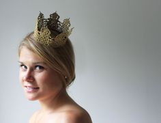 Gold Princess Crown - fairy tale, royalty, birthday crown, bridal crown, bachelorette party on Etsy, $17.00