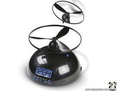 Flying Alarm Clock.Launches a rotor into the air that flies around the room as the alarm sounds, hovering up to 9' in the air, and will not cease ringing until the rotor is returned to the alarm clock base.