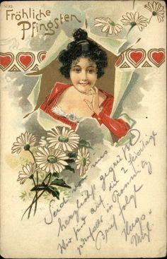 German Art Nouveau Frohliche Pfingsten c1900 Woman Breaks Through Paper | eBay