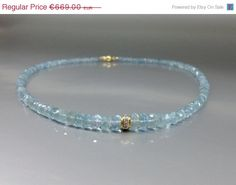 Spectacular Aquamarine necklace with 14K gold and Diamonds by gemoryprague. Explore more products on http://gemoryprague.etsy.com