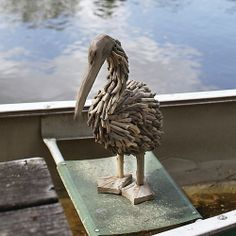 Pelican made from driftwood