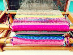 Multicolour stripe weaving.