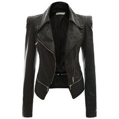 Rotita Black Faux Leather Power Shoulder Biker Motorcycle Jacket ($42) ❤ liked on Polyvore featuring outerwear, jackets, coats, tops, leather jackets, black, zip jacket, vegan motorcycle jacket, collar jacket and faux-leather moto jackets