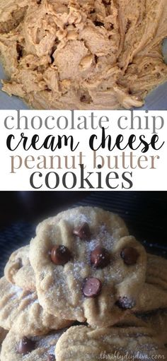 Chocolate Chip Cream Cheese Peanut Butter Cookies recipe - so light and fluffy with a moist center. Delicious!