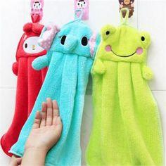 Free Shipping 37cmx29.2cm Nursery Hand Towel Soft Plush Fabric Cartoon Animal Wipe Hanging Bathing Towel 6 Patterns