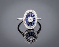 Art Deco Ring - Blue sapphire engagement ring old European cut diamond 0.20ct platinum white gold Fine French jewelry 1920s ref.13156-0018