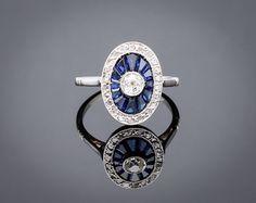 Art Deco Ring  Blue sapphire engagement por adinantiquejewellery, $5135.00