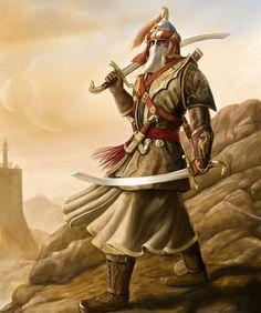arab swordsman fantasy art at DuckDuckGo Fantasy Races, Fantasy Armor, Medieval Fantasy, Dark Fantasy, Fantasy Character Design, Character Concept, Character Art, Dnd Characters, Fantasy Characters
