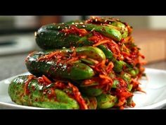 This has fish sauce, so if you want it Vegan, do some adjusting !!   Spicy stuffed cucumber kimchi (Oi-sobagi) recipe -Maangchi.com