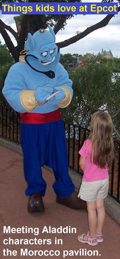 There are lots of things for kids to love at Epcot, including meeting favorite characters like Genie, Jasmine and Aladdin in the Morocco pavilion.  For more tips on Epcot with young kids, see: http://www.buildabettermousetrip.com/epcot-with-young-children