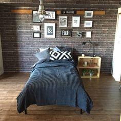akiさんの、レンガ柄壁紙,ブルックリンスタイル,JKK東京×RoomClip,団地リノベーション,ベッドルーム,元和室,フレームディスプレイ,IKEA,のお部屋写真